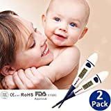 AmeriLuck Flexible Digital Thermometer with 10 SEC Fast Reading - Oral Mouth, Rectal, Underarm Instant Body Temperature Thermometer with Fever Indicator for Babies Kids Adults FDA Listed 2 Pack