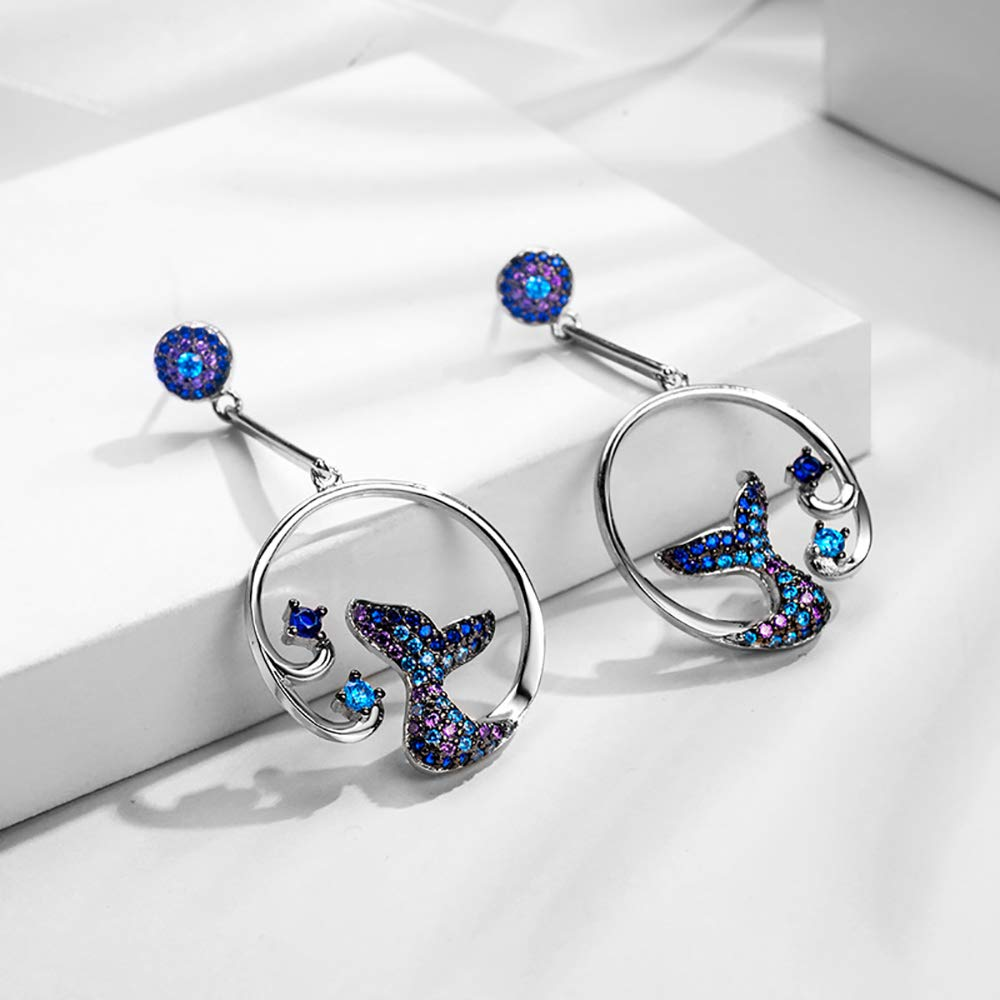 Cocobanana Womens Earrings Mermaid Tail Shaped Ear Stud with Azorite Stones