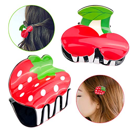 UPINS Strawberry and Cherry Hair Jaw Clips,Fruit Hair Claw Clips,Pack of - Clip Strawberry Hair