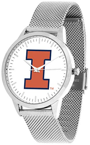 (Illinois Fighting Illini - Mesh Statement Watch - Silver Band)