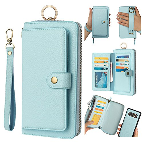 (Galaxy S10 Plus Leather Flip Case,Galaxy S10 Plus Wallet Case for Women and Men,AIFENG [14 Card Holder][Zipper][Magnetic Detachable] Wallet Phone Case Leather Pouch for Samsung Galaxy S10 Plus,Blue)