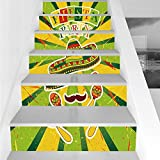 Stair Stickers Wall Stickers,6 PCS Self-adhesive,Fiesta,Sprites with Sombrero Maracas Mustache Mexican Hand Drawn Illustration,Green Yellow Vermilion,Stair Riser Decal for Living Room, Hall, Kids Room
