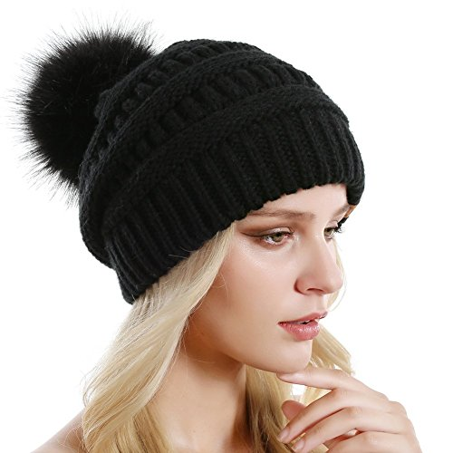 QUEENFUR Women Knit Slouchy Beanie Chunky Baggy Hat with Faux Fur Pompom Winter Soft Warm Ski Cap by QUEENFUR (Image #3)
