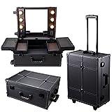 AW Black Rolling Studio Makeup Artist PVC Cosmetic 15x8x19' Case w/ Light Mirror Portable Train Table