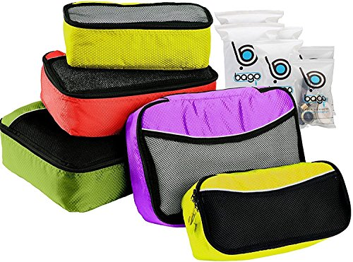 5 Packing Cubes For Travel Luggage or Suitcase + 6 Toiletry Zip Bags Organizer (Green, Red, Purple, 2Yellow) - 2 Drawer Extended Cube