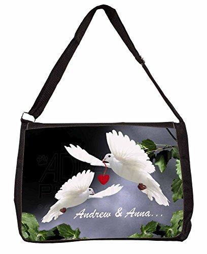 Doves Personalised Valentines Day Gift Large 16 Black School Laptop Shoulder Ba