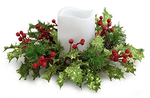 10' Artificial Christmas Holly and Red Berry Pillar Candle Rings
