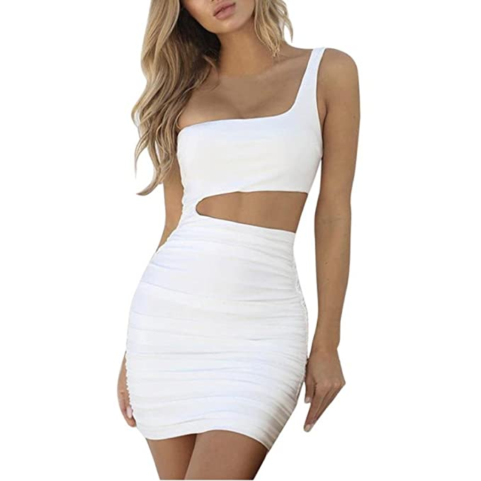 Misaky Women One Shoulder Dress Sleeveless Party Club Bodycon Dress 2018 Fresh Issue at Amazon Womens Clothing store:
