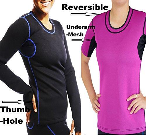 Sisyama Weight Loss Reversible Sleeves Tank Neoprene Sauna Suit Shirt Top (Short-sleeve Pink,Large)