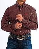 Cinch Men's Classic Fit Long Sleeve Button One Open Pocket Print Shirt, Black/Orange, M
