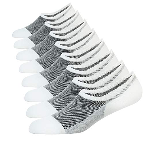 WANDER No Show Socks 8 Pairs Natural Cotton Thin Non Slip Low Cut Sock Size 6-12-Men&Women (8 White, Sock Size 6-9)