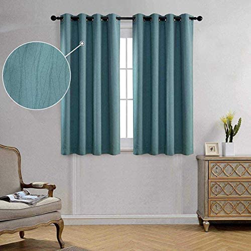 Miuco Blackout Curtains Room Darkening Curtains Textured Grommet Curtain