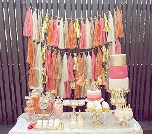 20x pesca rosa oro bianco carta velina pom pom nappe per festa di nozze d' oro festoni Originals Group