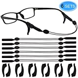 6 Pieces Adjustable Eyewear Retainer Sports Eyeglasses Strap Sunglasses Holder Chain with 6 Pairs Anti-slip Elastic Ear Hooks by EAONE, Black