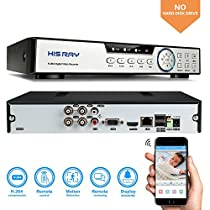 HISRAY 4CH 1080N Hybrid 5-in-1 AHD DVR (1080P NVR+1080N AHD+960H Analog+TVI+CVI) CCTV Quick QR Code Scan/ Easy Remote View /Motion Detection Email Alerts Home Security Surveillance System (No HDD)
