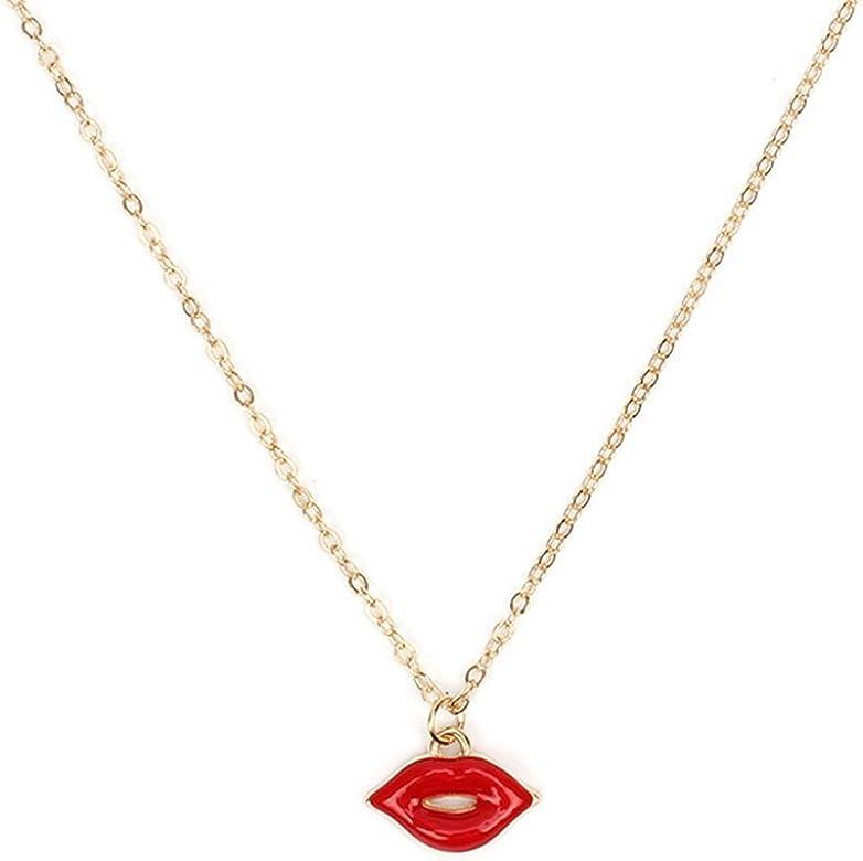 Creative con forma de labios rojos juego de collar pendientes para mujer (Pack de 3): Amazon.es: Joyería