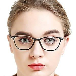 OCCI CHIARI Brand Quality Public Price Lightweight Eyewear Glasses Eyeglasses Frames Clear Lenses For Teenage Women (Black, 52)