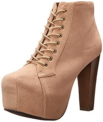 Speed Limit 98 ROSA Designer Inspired Lita Style Chunky High Heel Lace Up Ankle Boot Bootie,5.5 B(M) US,Taupe IMSU
