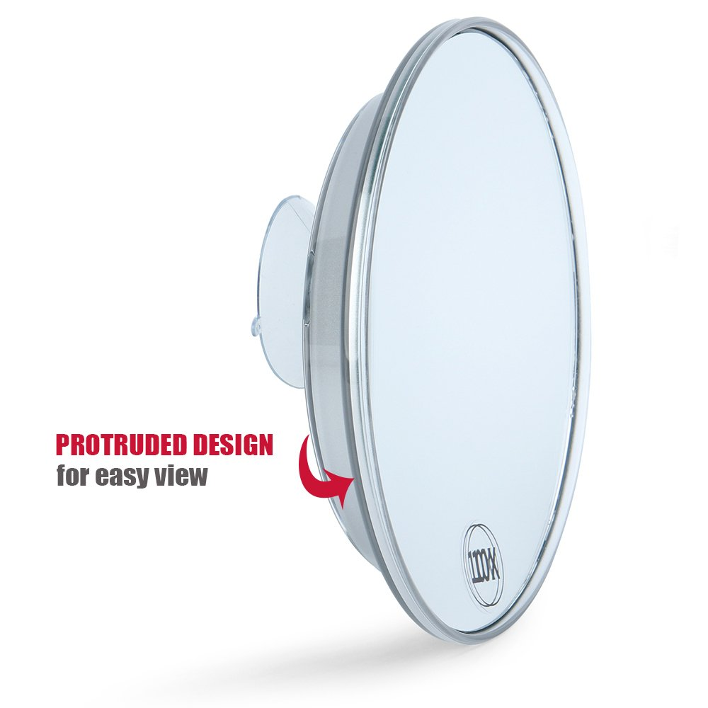 Catmicoo 10X Magnifying Mirror with 3 Large Suction Cups, 6'' Round Portable Cosmetic Make Up Mirrors (Silver)