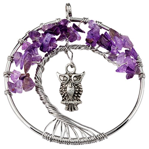 SUNYIK Amethyst Tree of Life Pendant,Tumbled Stone Wire Wrapped Owl Necklace,Healing Chakra (Funny Things To Dress Up As)