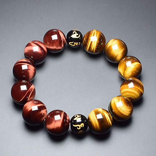 Six Words Buddha Beads Bracelets | for Men | Red and Yellow Tiger Eyes Natural Stone Bracelets ()