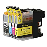 Toner Clinic ® TC-LC103 4PK 1 Black 1 Cyan 1 Magenta 1 Yellow Compatible Inkjet Cartridge for LC-101 LC-103 LC-103 XL LC-103BK, LC-103C, LC-103M, LC-103Y Compatible With Brother DCP-J132W DCP-J152W DCP-J172W DCP-J4110DW DCP-J552DW DCP-J752DW MFC-J245 MFC-J285DW MFC-J4310DW MFC-J4410DW MFC-J450DW MFC-J4510DW MFC-J4610DW MFC-J470DW MFC-J4710DW MFC-J475DW MFC-J650DW MFC-J6520DW MFC-J6720DW MFC-J6920DW MFC-J870DW MFC-J875DW - 4 Pack Compatible Inkjet Cartridges