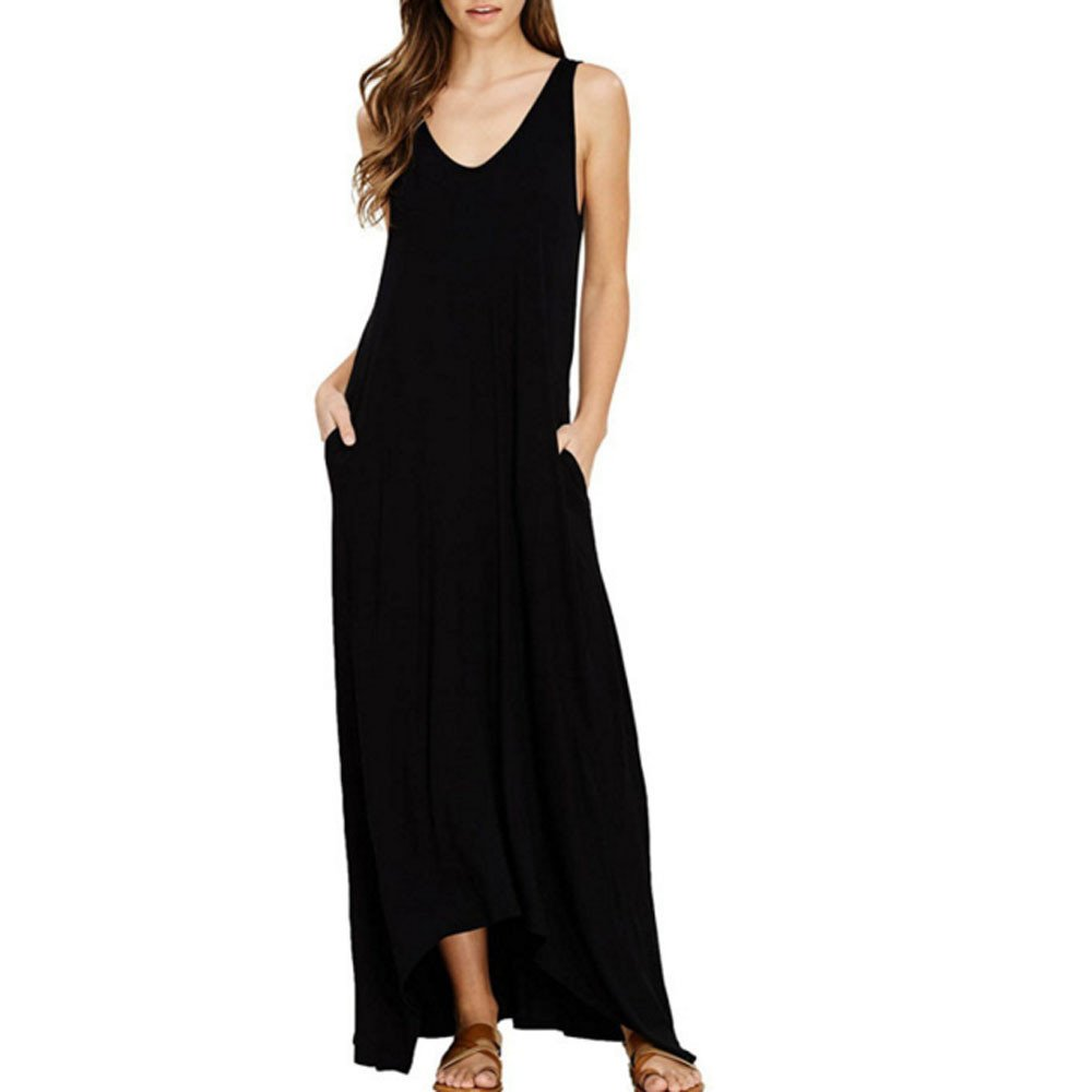 Women Maxi Dress, Womens Off Shoulder Cocktail Party Beach Pure Color Pocket Vest Long Maxi Dress, Black, M