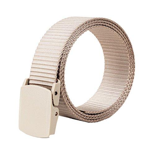 [ALAIX Nylon 4.0CM Wide Adjustable Belt With Double Plastic Buckles,Khaki-Wave] (Buckle Khaki)