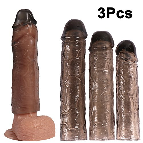 UEE Reusable Penis Sleeve Extender Extension Cock Enlarger Condom Sheath Delay Ejaculation Toys for Men(3pcs S, M and L)