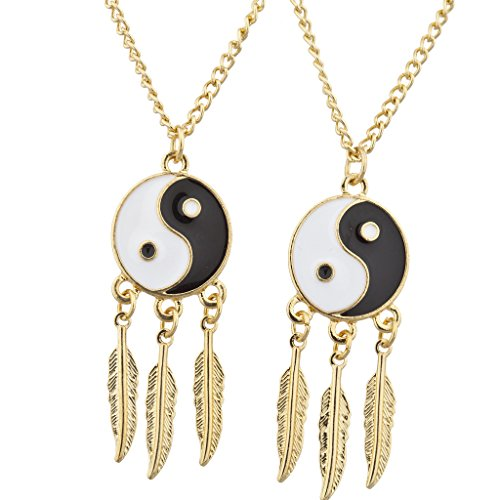 Lux Accessories Goldtone Ying Yang Best Friends Forever BFF Necklace Set (2PCS)