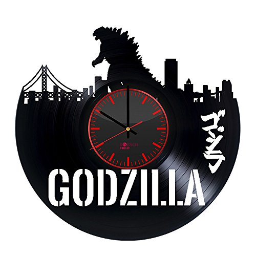 Monster Silhouette Design Vinyl Record Wall Clock - Get unique home room or office wall decor - Gift ideas for his and her - Comics Character Unique Modern Art (Godzilla 2000 Poster compare prices)