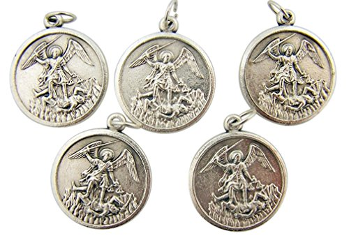 Silver Toned Base the Archangel Saint Michael Medals, Lot of 5, 1 1/4 Inch