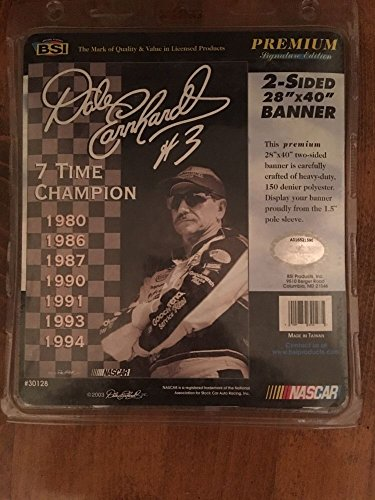 (Dale Earnhardt Sr Folded Arm Pose Goodwrench Uniform Gargoyle Sunglasses 7 Seven Time Champion Pose BSI 28 inches x 40 inches Premium 2 Sided Banner With Pole Sleeve For Mancave)