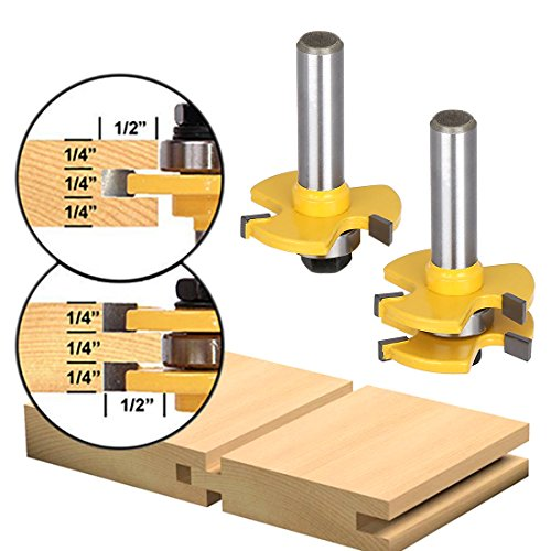 Tongue and Groove Set,Router Bit Set,Wood Door Flooring 3 Teeth Adjustable ,1/2 Inch Shank T Shape Wood Milling Cutter Woodworking Tool (2Pcs)