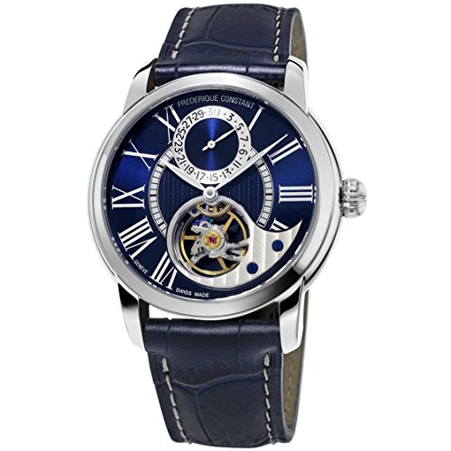 Frederique Constant Men's Heart Beat Manufacture Stainless Steel Automatic-self-Wind Watch with Leather-Alligator Strap, Blue, 22 (Model: FC-941NS4H6)