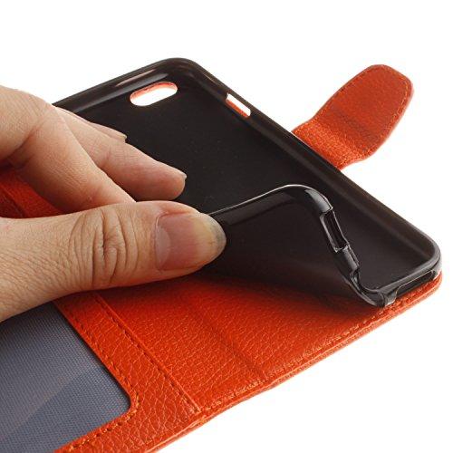 Voguecase® Pour Apple iPhone 6/6s 4,7 Coque, Étui en cuir synthétique chic avec fonction support pratique pour Apple iPhone 6/6s 4,7 (Dragonne-Litchi-Orange)de Gratuit stylet l'écran aléatoire univers