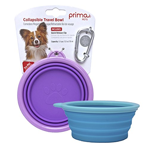 Prima Pet Collapsible Silicone Water Travel Bowl with Clip for Dog and Cat, Portable and Durable Pop-up Feeder for Convenient On-the-go Feeding – Size: SMALL (1.5 Cups) – 2 PACK AQUA & PURPLE by Prima Pets