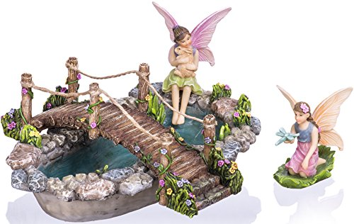 Joykick Fairy Garden Pond with Bridge - Miniature Hand Painted Figurines - 4 piece set