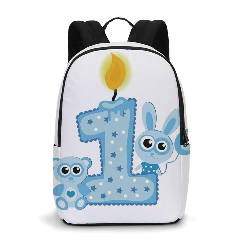 1st Birthday Decorations Modern simple Backpack,Boys Party Theme with a Cake Candle Rabbit and Bear for school,11.8''L x 5.5''W x 18.1''H
