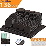 Chair Pads for Hardwood Floors Furniture Pads 136 Pieces Pack Self Adhesive Felt Pads Brown Felt Furniture Pads Anti Scratch Floor Protectors for Chair Legs Feet with Case and 30 Rubber Bumpers for Hardwood Tile Wood Floor