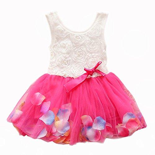 Metee Dresses Kids Girls Princess Rose Garden Flower Petal Lace Ruffled Tulle Skirts Dresses(XS(Advice 0.5-1 Years), Rose)