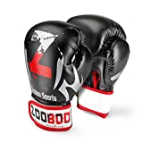 Flexzion Boxing Sparring Training Gloves Pro Muay Thai Kickboxing Heavy Bag Punching Mitts Wrist Wrap Full Contact Combat Sport Protective Hand Gear Martial Art Supply For Women & Teens, 10Oz (Black)