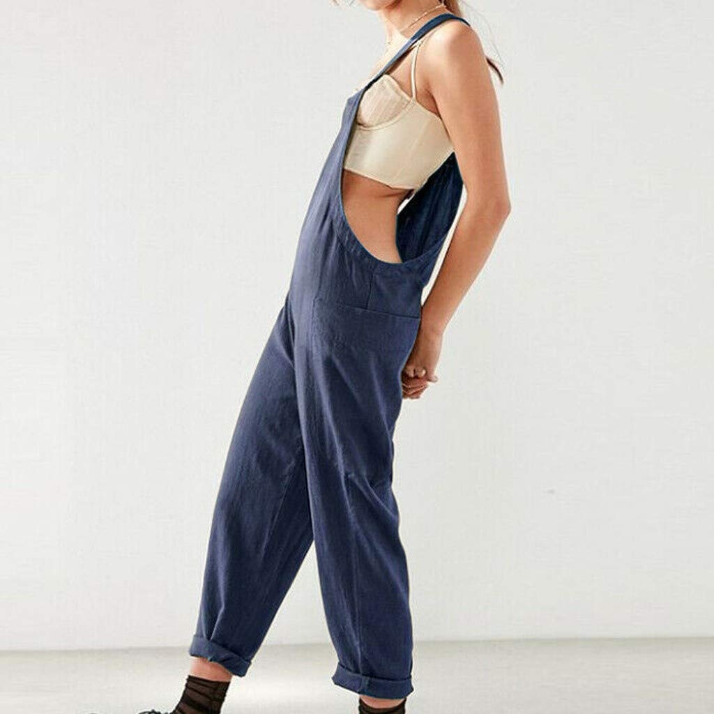 Womens Linen Jumpsuits Plus Size S-5XL Summer Baggy Adjustable Strap Sleeveless Long Pants Playsuit Overalls Casual Loose Straight Leg Dungarees Rompers