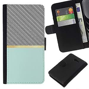All Phone Most Case / Oferta Especial Cáscara Funda de cuero Monedero Cubierta de proteccion Caso / Wallet Case for Sony Xperia M2 // Cross Pattern Illusion Teal Black
