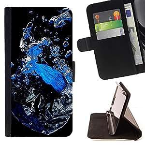 - Abstract Water - - Monedero PU titular de la tarjeta de cr????dito de cuero cubierta de la caja de la bolsa FOR Samsung Galaxy S5 V SM-G900 RetroCandy