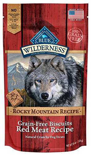 - Blue Wilderness Rocky Mountain Recipe Grain-Free Red Meat Biscuits Dog Treats, 8 Oz (6 Pack)