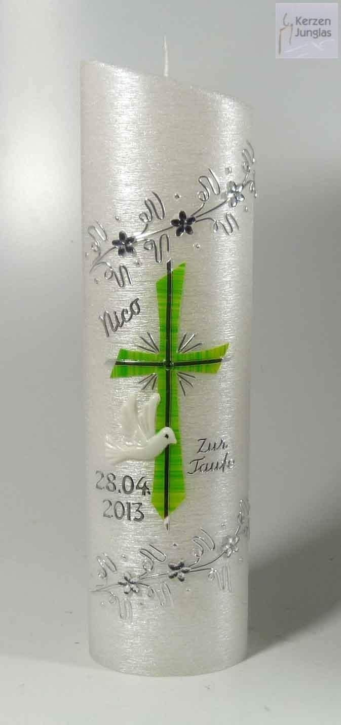 Taufkerze Oval 24-6 cm - Silber-Grün -1058- mit Namen und Datum - Perlmuttstruktur und Kristallblumen - Kerze zur Taufe 240-