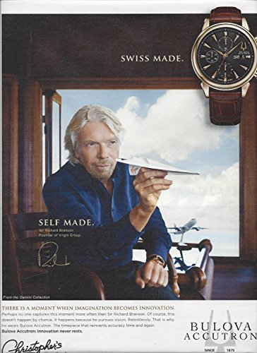 **PRINT AD** With Richard Branson For Bulova Accutron Gemini Collection Watches **PRINT AD** -