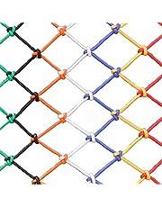 Balcony Safety Net Decorative Net Fence Net Colorful Nylon Rope Woven Net 6mm*8cm Plant Climbing Decorative Netting Decorative Hammock Swing Nylon Net(Size:10 * 10m(33 * 33ft))