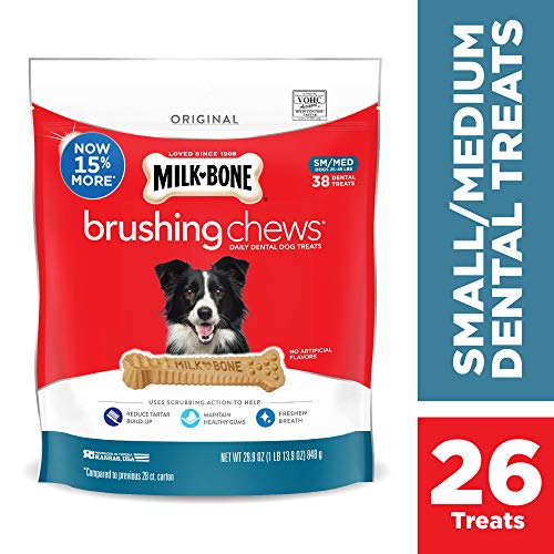 Sm Dog Chew Bone - Milk-Bone Brushing Chews Daily Dental Dog Treats, Small-Medium, 29.9 oz Pouch